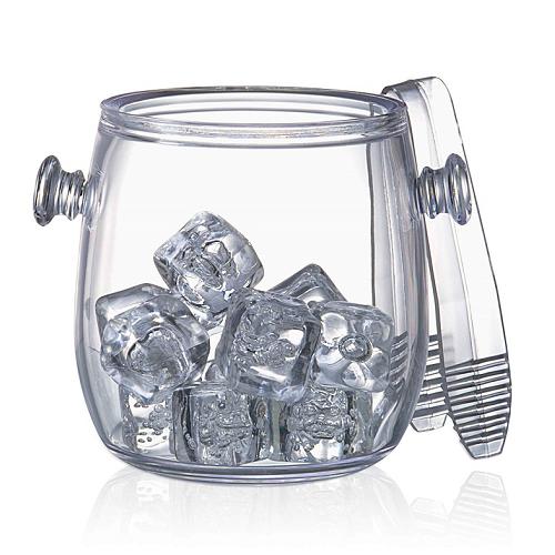 Ice bucket with acrylic clamp