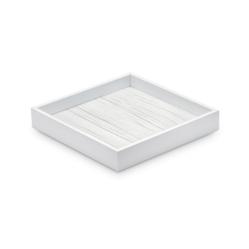 WHITE LACQUERED WOOD TRAY